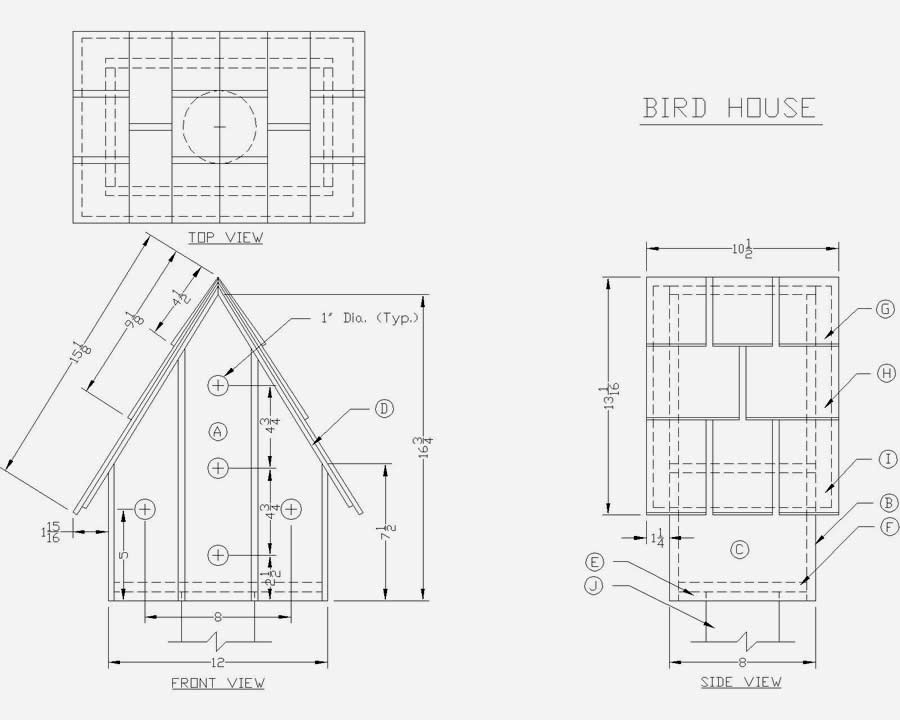 Free plans to build birdhouses floor plans for Printable blueprints