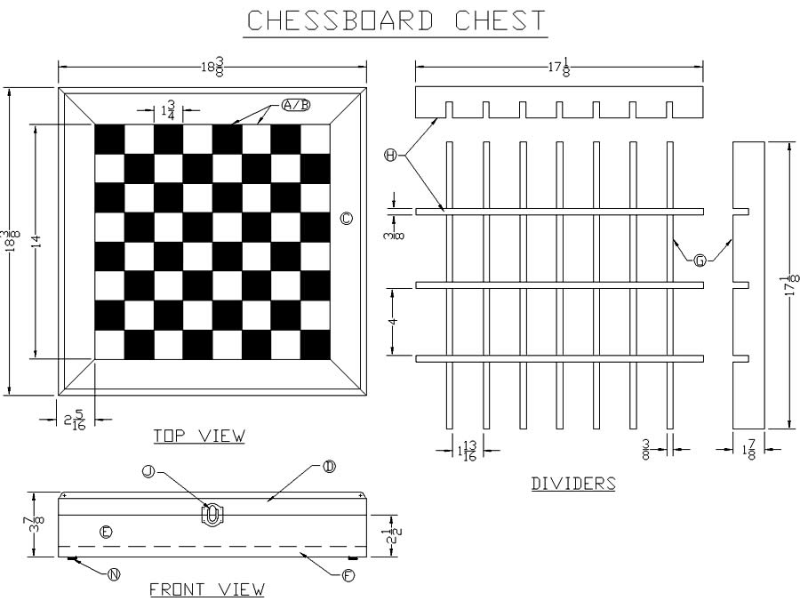 ... scalable drawing technical information for building a chessboard chest