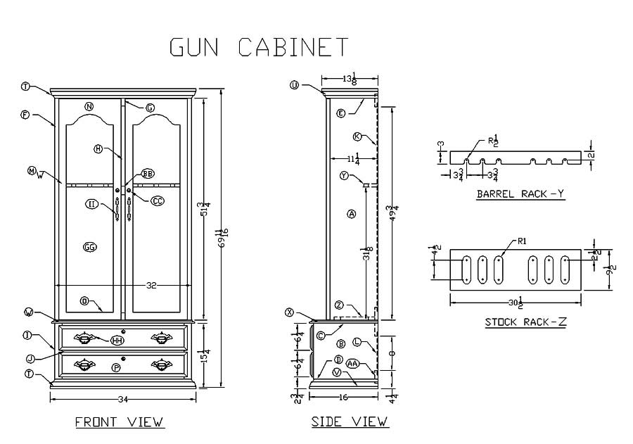eight gun cabinet plans