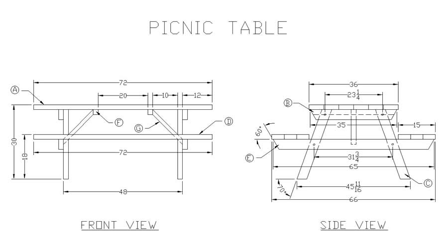 plans for a wooden picnic table