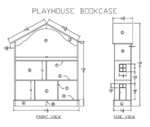 Wooden Playhouse Bookcase