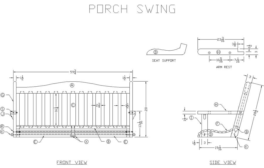 Learn How to Build a Wooden Porch Swing - Free Woodworking Plans at Lee's Wood Projects