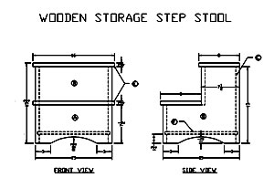 Wooden Storage Step Stool